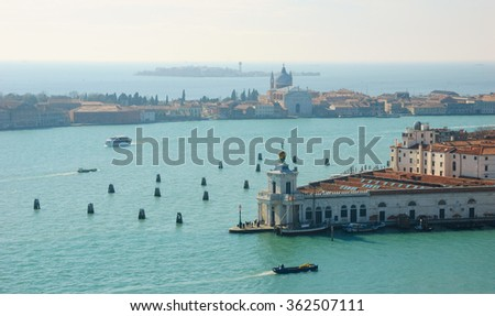Venice (Italy). A view from St Mark's Campanile. Giudecca island is seen at backgrounds.  - stock photo