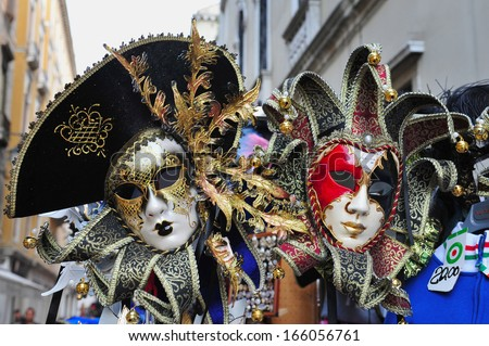 VENICE, ITALY - APR 30 2011:Selection of Venetian carnival masks.Masks were worn in Venice to disguise the wearer from illicit activities:gambling, dancing, affairs or even political assignation.