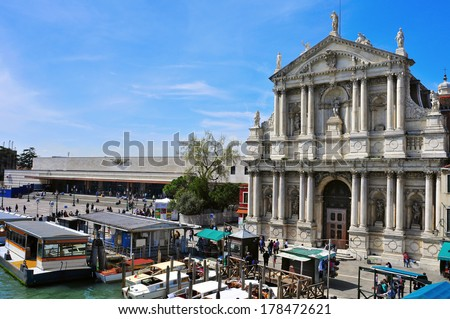 VENICE, ITALY - APRIL 13: A view of Chiesa di Santa Maria di Nazareth on April 13, 2013 in Venice, Italy. Due the proximity to the Santa Lucia railway station, it is a monument widely seen in the city - stock photo