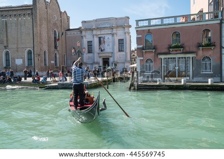 VENICE, ITALY APRIL 12, 2016: Sights along the Grand Canal