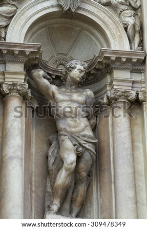 Venice, Italy - April 1, 2013: Street views of ancient architecture in Venice, Italy. - stock photo