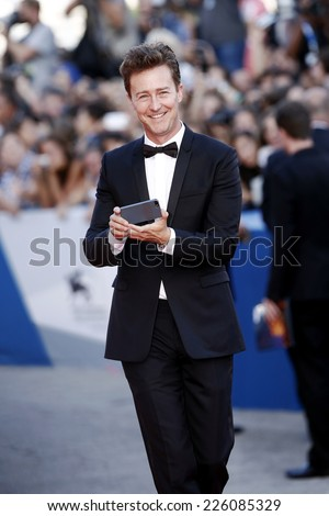 VENICE, ITALY - AUGUST 27: Actor Edward Norton attends the 'Birdman' premiere during the 71st Venice Film Festival on August 27, 2014 in Venice, Italy.  - stock photo