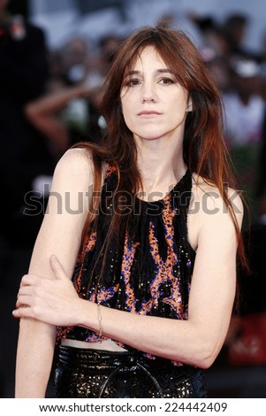 VENICE, ITALY - AUGUST 30: Actress Charlotte Gainsbourg attends '3 Coeurs' Premiere during the 71st Venice Film Festival on August 30, 2014 in Venice, Italy. - stock photo