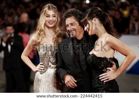 VENICE, ITALY - AUGUST 30: Camila Sola, Al Pacino, Lucila Sola attend 'The Humbling' premiere during the 71st Venice Film Festival on August 29, 2014 in Venice, Italy.  - stock photo