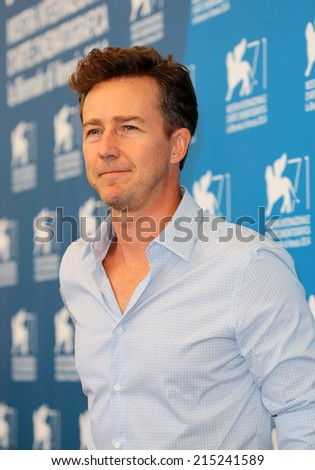 "VENICE, ITALY - AUGUST 27: Edward Norton during the photocall of the film "" Birdman "" during the 71th Venice Film Festival 2014 in Venice, Italy on August 27, 2014  - stock photo"