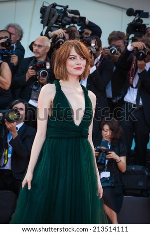 VENICE, ITALY - AUGUST 27: Emma Stone attends 'Birdman' Premiere during 71st Venice Film Festival on August 27, 2014 in Venice, Italy - stock photo