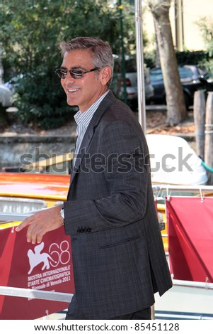VENICE, ITALY - AUGUST 31: George Clooney arrive at the Palazzo Del Cinema during the 68th Venice Film Festival on August 31, 2011 in Venice, Italy. - stock photo