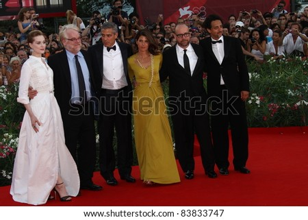 VENICE, ITALY - AUGUST 31:  George Clooney,  Marisa Tomei, Paul Giamatti  attend 'The Ides Of March' premiere during the 68 Venice Film l at the Palazzo del Cinema on August 31, 2011 in Venice, Italy - stock photo