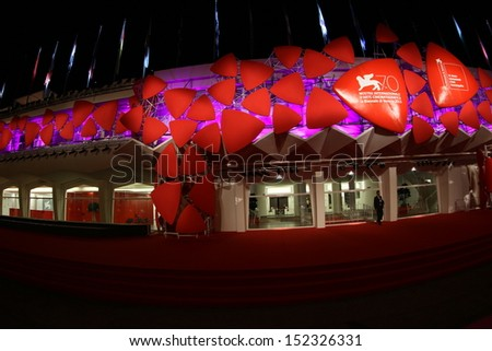 VENICE, ITALY - AUGUST 30: Preparations ahead of the  Venice Film Festival at the Palazzo Del Casino on August 30, 2013 in Venice, Italy.  - stock photo