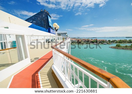 VENICE, ITALY - AUGUST 26. Scenic view of the main deck of a cruise ship from Norwegian cruise line arriving to the port of Venice, Italy.