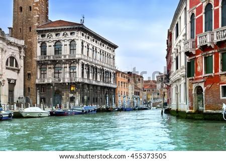 Venice. Italy. Bright ancient buildings ashore Canal Grande - stock photo