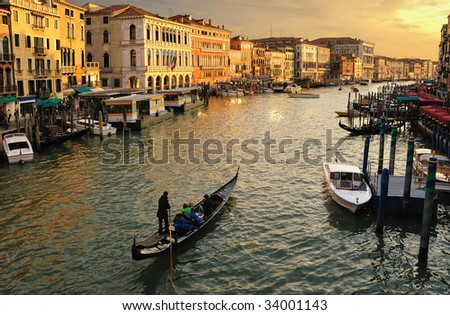 Venice, Italy. Canale Grande taken from the Rialto Bridge. - stock photo