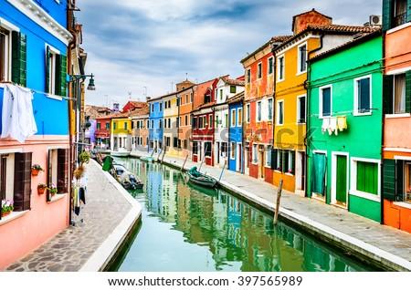 Venice, Italy. Channel view of Burano colorful village, landmark of Veneto region. - stock photo