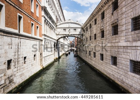 VENICE, ITALY - CIRCA MAY 2016 - View from San Marco of the Bridge of sighs. Bridge of sighs built in seventeenth century, connect the Old Prison and interrogation rooms of the New Prison - stock photo