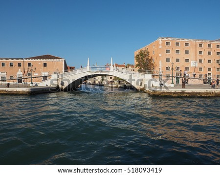 VENICE, ITALY - CIRCA SEPTEMBER 2016: View of the city of Venice from the canal