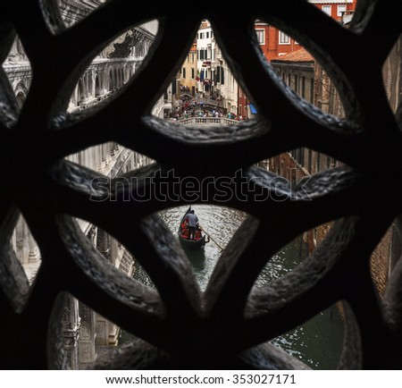 VENICE,ITALY-CIRCA SEPTEMBER 2015: view on Venice Chanel from the Bridge of Sighs