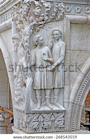 Venice, Italy, Doge palace sculpture decoration. - stock photo