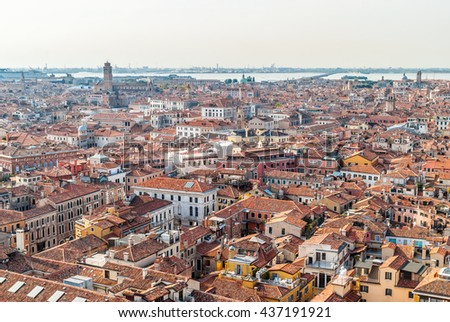 VENICE, ITALY, E.U - SEPTEMBER 16, 2011: Aerial views  from the viewpoint of Campanile