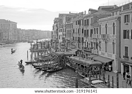 VENICE, ITALY - FEBRUARY 8, 2015: Beautiful romantic view of famous Grand Canal in Venice, Italy. Black and white image