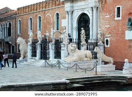 VENICE, ITALY - FEBRUARY 19: Entrance of the Arsenal. Venice, Italy - Feb 19, 2014 - Venice, Italy - stock photo