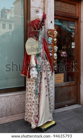 VENICE, ITALY-FEBRUARY 26: Image of the entrance in Beba disguising studio during  the Carnival of Venice on February 26, 2011. In 2012 the Carnival will be between 11- 21 February.