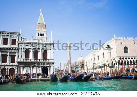 Venice - Italy, Gondolas near the San Marco on Grand channel - stock photo