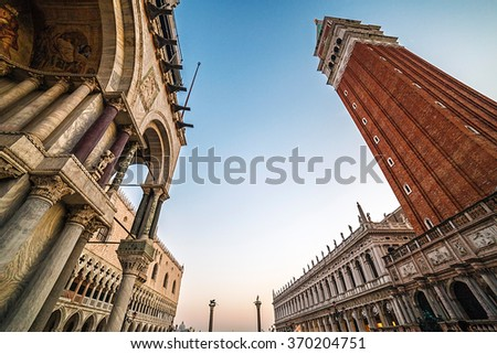 VENICE, ITALY - JANUARY 25, 2016: Fish-eye view of San Marco square in Venice, Italy. Photographed at sunset.