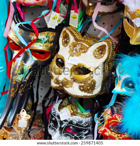 VENICE, ITALY - JANUARY 2, 2015: Sale of festive masks in the store in Venice, Italy