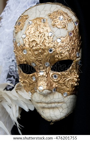 Venice, Italy - January 31, 2016: Traditional carnival masks for sale in a shop in Venice
