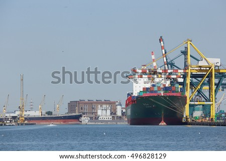 VENICE, ITALY. JULY 20. A cargo ship docked in Porto Marghera near Venice on July 20, 2016 in Venice, Italy.
