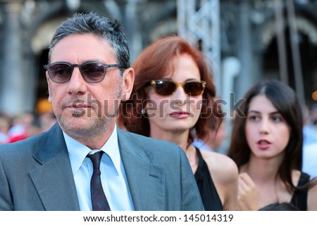 VENICE, ITALY - JULY 06: Actor Sergio Castellitto and writer Margaret Mazzantini  during the graduation of the University Ca 'Foscari in San Marco square in Venice. July 06, 2013 in Venice, Italy