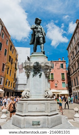 VENICE, ITALY - JULY 12, 2014: Monument Durri Banchi (1984) in Venice. Italy. Venice is one of the most popular tourist destinations in the world