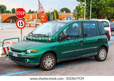 VENICE, ITALY - JULY 30, 2014: Motor car Fiat Multipla at the city street. - stock photo