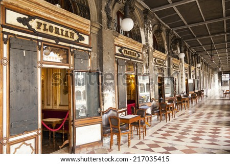 VENICE, ITALY - JUN 1 2014: Caffe Florian in Piazza San Marco in Venice. Caffe Florian, established in 1720, is the oldest coffee house in continuous operation.  - stock photo