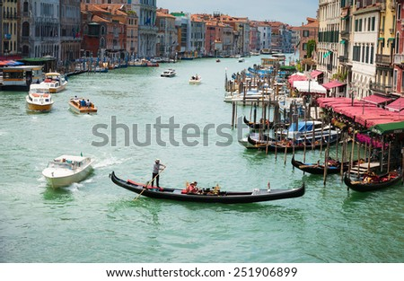 VENICE, ITALY - 26 JUNE, 2014: Grand Canal in Venice Italy