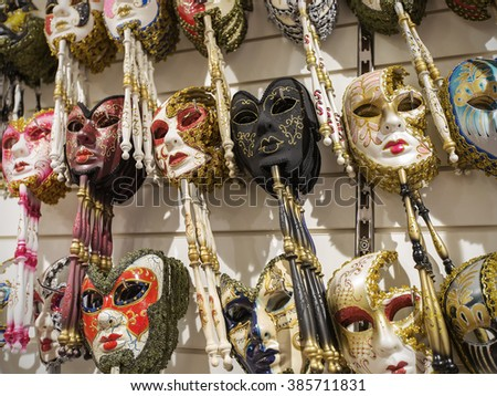 VENICE, ITALY - JUNE 26, 2014: Masks were worn in Venice to disguise the wearer from illicit activities: gambling, dancing, clandestine affairs or even political assignation. - stock photo
