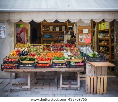 VENICE, ITALY - 26 JUNE, 2014: Vegetable shop on a street - stock photo