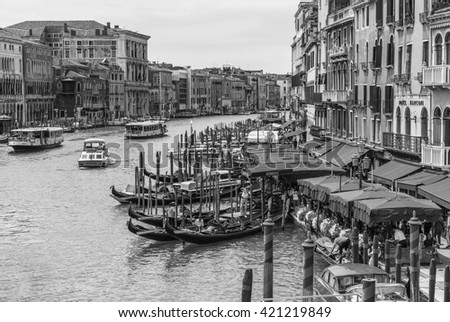 VENICE, ITALY - JUNE 26, 2014: View of the Grand Canal from the Rialto Bridge. Venice . Black and white photography.