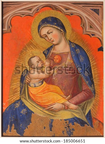 VENICE, ITALY - MARCH 14, 2014: Madonna fresco by unknown painter from 14. cent. in church San Francesco della Vigna