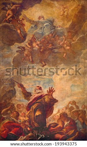VENICE, ITALY - MARCH 12, 2014: The Ceiling fresco of scene - Moses Strikes Water from a Rock in church Chiesa di San Moise. - stock photo