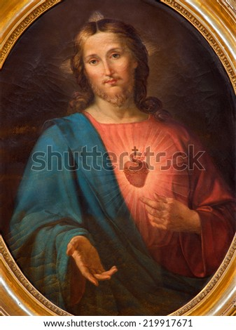 VENICE, ITALY - MARCH 12, 2014: The painting of heart of Jesus in church Chiesa di San Moise by unknown painter of 19. cent..