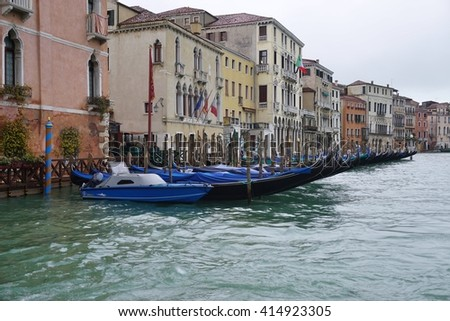 VENICE, ITALY -10 MARCH 2016- Water transportation by boat on the Grand Canal in Venice.
