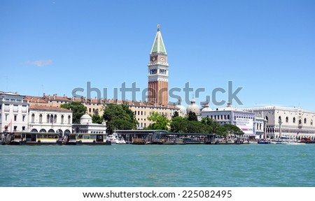 VENICE, ITALY - MAY 13, 2014: A view of the famous San Marco area in Venice, Italy.