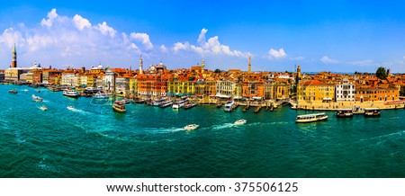 VENICE, ITALY- MAY 29-2014: Cityscape of Venice. View from cruise ship at Adriatic sea, Venice, Italy . Venice is very famous tourist destination of Italy. Many tourists visiting all year around. - stock photo