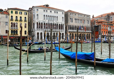VENICE, ITALY - MAY 6, 2012: Detail of gondola by Grand Canal in Venice, Italy