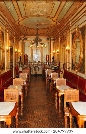 VENICE, ITALY - MAY 6, 2012: Interior view of retro luxurious saloon in Piazza San Marco