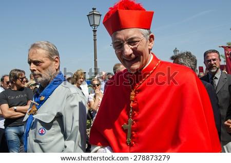 VENICE, ITALY - MAY 17, 2015:  The Patriarch of Venice - Francesco Moraglia -  during the Festa della Sensa marking Ascension Day.  He has just presided over the Marriage of the Sea ceremony. - stock photo