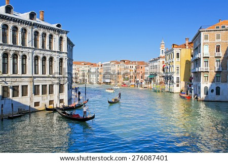 VENICE, ITALY, November 15, 2012: A beautiful view of a Grand Canal in Venice, Italy