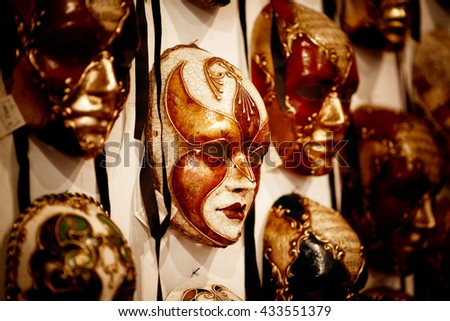 Venice, Italy - November 28, 2014: Selection of Venetian carnival masks. Masks were worn in Venice to disguise the wearer from illicit activities - stock photo