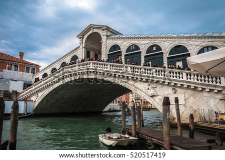 VENICE, ITALY, Oct 19, 2016: The Rialto Bridge, the oldest bridge across the canal, one of the architectural icons of Venice.